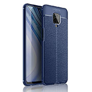 Soft Silicone Gel Leather Snap On Case Cover S01 for Xiaomi Redmi Note 9 Pro Blue