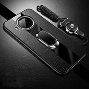 Soft Silicone Gel Leather Snap On Case Cover with Magnetic Finger Ring Stand for Xiaomi Mi 10T Lite 5G Black