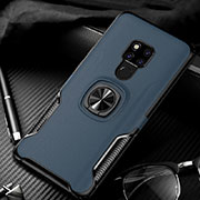 Soft Silicone Gel Leather Snap On Case Cover with Magnetic Finger Ring Stand T01 for Huawei Mate 20 Blue