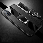 Soft Silicone Gel Leather Snap On Case Cover with Magnetic Finger Ring Stand T01 for Oppo Reno4 Pro 5G Black