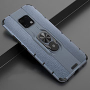 Soft Silicone Gel Leather Snap On Case Cover with Magnetic Finger Ring Stand T04 for Huawei Mate 20 Pro Blue