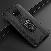 Soft Silicone Gel Leather Snap On Case Cover with Magnetic Finger Ring Stand T05 for Huawei Mate 20 Black