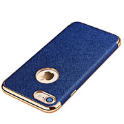 Soft Silicone Gel Leather Snap On Case for Apple iPhone SE (2020) Blue