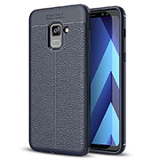 Soft Silicone Gel Leather Snap On Case for Samsung Galaxy A8+ A8 Plus (2018) Duos A730F Blue