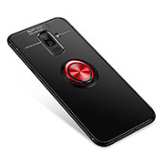 Ultra-thin Silicone Gel Soft Case Cover with Finger Ring Stand for Samsung Galaxy A9 Star Lite Red and Black
