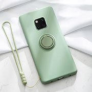 Ultra-thin Silicone Gel Soft Case Cover with Magnetic Finger Ring Stand T01 for Huawei Mate 20 Pro Green