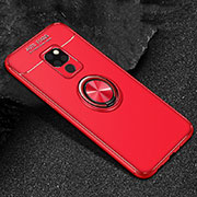 Ultra-thin Silicone Gel Soft Case Cover with Magnetic Finger Ring Stand T01 for Huawei Mate 20 Red