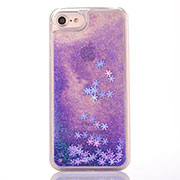 Ultra-thin Transparent Flowers Soft Case Cover T01 for Apple iPhone SE (2020) Purple