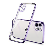 Ultra-thin Transparent TPU Soft Case Cover H01 for Apple iPhone 12 Pro Purple