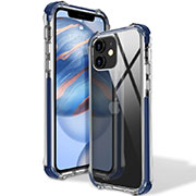 Ultra-thin Transparent TPU Soft Case Cover S02 for Apple iPhone 12 Blue
