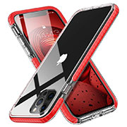 Ultra-thin Transparent TPU Soft Case Cover S03 for Apple iPhone 12 Pro Red