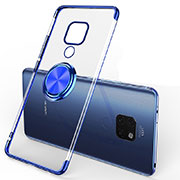 Ultra-thin Transparent TPU Soft Case Cover with Magnetic Finger Ring Stand C01 for Huawei Mate 20 Blue