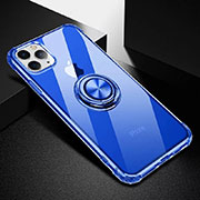 Ultra-thin Transparent TPU Soft Case Cover with Magnetic Finger Ring Stand C03 for Apple iPhone 11 Pro Blue