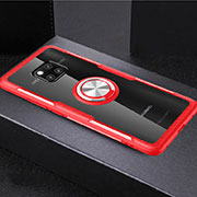 Ultra-thin Transparent TPU Soft Case Cover with Magnetic Finger Ring Stand S02 for Huawei Mate 20 Pro Red
