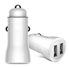2.4A Car Charger Adapter Dual USB Twin Port Cigarette Lighter USB Charger Universal Fast Charging for Alcatel 3 White