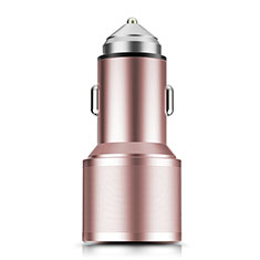 3.0A Car Charger Adapter Dual USB Twin Port Cigarette Lighter USB Charger Universal Fast Charging K01 for Alcatel 3 Rose Gold