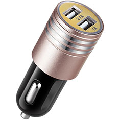 3.1A Car Charger Adapter Dual USB Twin Port Cigarette Lighter USB Charger Universal Fast Charging U04 for Alcatel 3 Pink