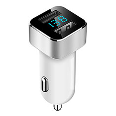 3.1A Car Charger Adapter Dual USB Twin Port Cigarette Lighter USB Charger Universal Fast Charging for Alcatel 3 White