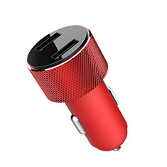 3.4A Car Charger Adapter Dual USB Twin Port Cigarette Lighter USB Charger Universal Fast Charging K05 for Alcatel 3 Red