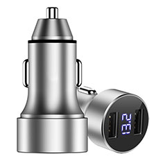 3.4A Car Charger Adapter Dual USB Twin Port Cigarette Lighter USB Charger Universal Fast Charging Silver