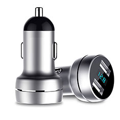 3.4A Car Charger Adapter Dual USB Twin Port Cigarette Lighter USB Charger Universal Fast Charging U03 Silver