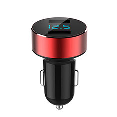 4.8A Car Charger Adapter Dual USB Twin Port Cigarette Lighter USB Charger Universal Fast Charging K07 for Alcatel 7 Red