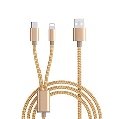 Charger Lightning USB Data Cable Charging Cord and Android Micro USB ML03 Gold