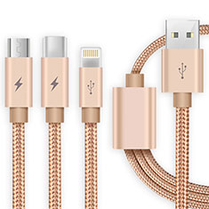 Charger Lightning USB Data Cable Charging Cord and Android Micro USB Type-C ML03 Gold