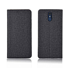 Cloth Case Stands Flip Cover for LG Q7 Black