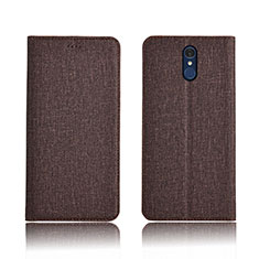 Cloth Case Stands Flip Cover for LG Q7 Brown