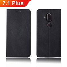 Cloth Case Stands Flip Cover for Nokia 7.1 Plus Black