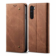 Cloth Case Stands Flip Cover for OnePlus Nord Brown