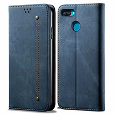 Cloth Case Stands Flip Cover for Oppo A12 Blue
