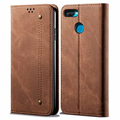 Cloth Case Stands Flip Cover for Oppo A12 Brown