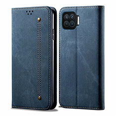 Cloth Case Stands Flip Cover for Oppo F17 Blue