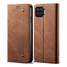 Cloth Case Stands Flip Cover for Oppo F17 Brown