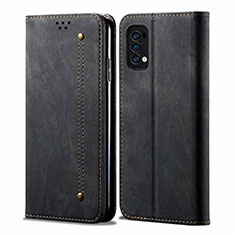 Cloth Case Stands Flip Cover for Oppo Reno4 4G Black