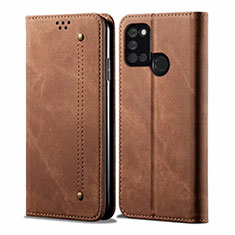 Cloth Case Stands Flip Cover for Realme 7i Brown