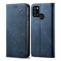 Cloth Case Stands Flip Cover for Realme C17 Blue
