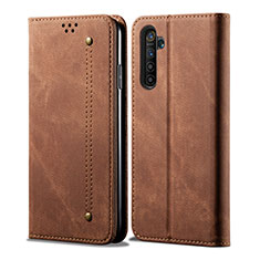 Cloth Case Stands Flip Cover for Realme X50 Pro 5G Brown