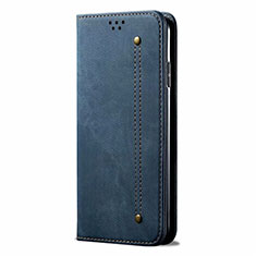 Cloth Case Stands Flip Cover for Samsung Galaxy M21s Blue