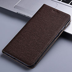 Cloth Case Stands Flip Cover for Samsung Galaxy M60s Brown