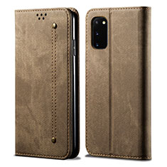 Cloth Case Stands Flip Cover for Samsung Galaxy S20 5G Brown