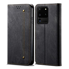 Cloth Case Stands Flip Cover for Samsung Galaxy S20 Ultra 5G Black