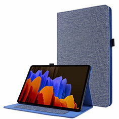 Cloth Case Stands Flip Cover for Samsung Galaxy Tab S7 11 Wi-Fi SM-T870 Blue