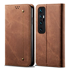Cloth Case Stands Flip Cover for Xiaomi Mi 10 Ultra Brown