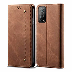 Cloth Case Stands Flip Cover for Xiaomi Mi 10T 5G Brown