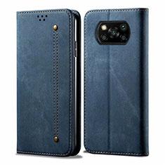 Cloth Case Stands Flip Cover for Xiaomi Poco X3 NFC Blue