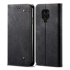 Cloth Case Stands Flip Cover for Xiaomi Redmi Note 9 Pro Black