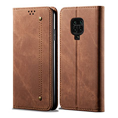Cloth Case Stands Flip Cover for Xiaomi Redmi Note 9 Pro Brown
